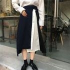 Color-Block Irregular Midi-Skirt 1596