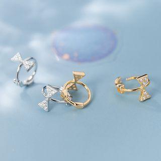 Rhinestone | Sterling | Earring | Silver | Hoop | Bow