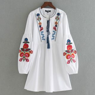 Image of Flower Embroidered Tasseled Long Sleeve Dress