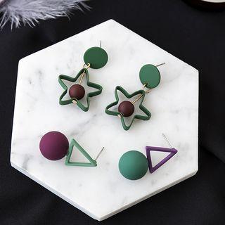 Image of Beaded Geometry Drop Earrings