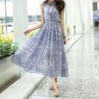 Set: Print Sleeveless Midi Chiffon Dress + Lace Bandeau 1596
