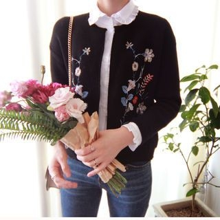 Open-Front Floral Embroidered Cardigan