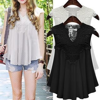 Lace Panel Sleeveless Chiffon Top 1065458782