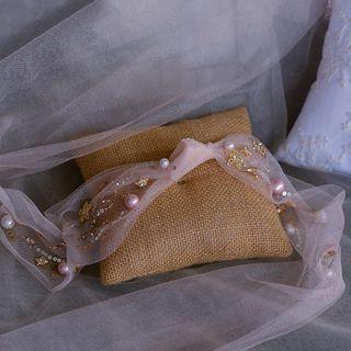 Image of Bridal Embellished Mesh Hairband Light Champagne - One Size