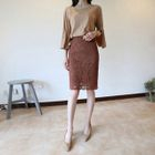 Zip-Side Lace Pencil Skirt 1596