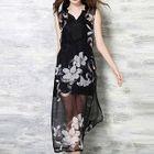 Set: Floral Print Midi Chiffon Dress + Slipdress 1596