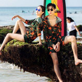 Image of Couple Matching Camo Jacket / Bikini / Swim Shorts