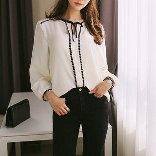 Tie-Neck Blouse White - One Size 1049758598