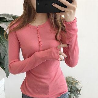 Plain Slim-Fit Long-Sleeve T-Shirt 1061969658