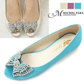 Picture of MICHEL PARA COLLECTION Bejeweled Bow-Accent Satin Flats 1023008760 (Flat Shoes, MICHEL PARA COLLECTION Shoes, Korea Shoes, Womens Shoes, Womens Flat Shoes)