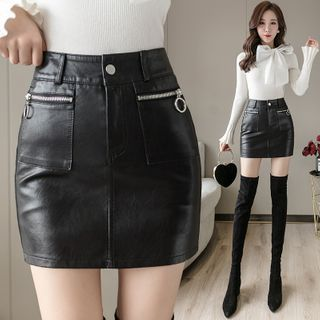 Leather   Skirt   Faux