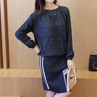 Set: Knit Top + Stripe Skirt 1053329901