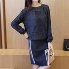 Set: Knit Top + Stripe Skirt 1596