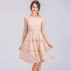 Elbow-Sleeve A-Line Lace Dress 1596