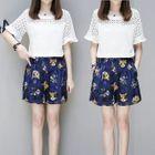 Set: Short-Sleeve Lace Panel Top + Printed Shorts 1596