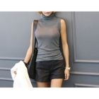 Turtle-Neck Sleeveless Knit Top 1596