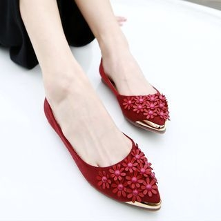 Flower Pointed Flats 1066686424