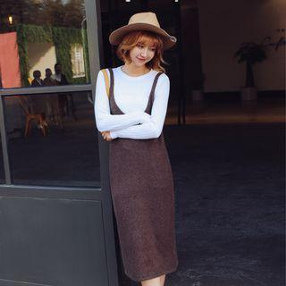 Set: Long-sleeve Knit Top + V-neck Knit Pinafore Dress 1062534801