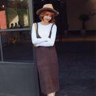 Set: Long-sleeve Knit Top + V-neck Knit Pinafore Dress 1596