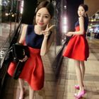 Color Block Sleeveless A-Line Dress 1596