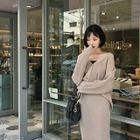Set: Drop-Shoulder Rib-Knit Cardigan + Long Skirt 1596