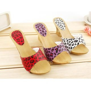 Buy KAWO Leopard Print Heart-Heel Wedge 1022786129