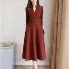 Long-Sleeve V-Neck Midi Dress 1596