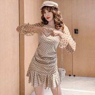 Image of Dotted Long-Sleeve Ruffle Hem Mini Sheath Dress