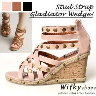 Picture of Wifky Studded Strappy Wedge Sandals 1022808553 (Sandals, Wifky Shoes, Korea Shoes, Womens Shoes, Womens Sandals)