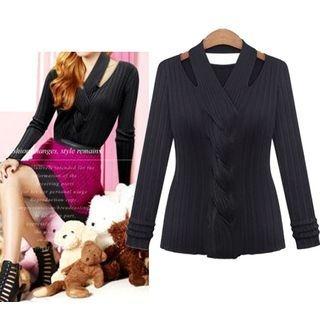 Cutout Ribbed V-neck Knit Top 1052949934