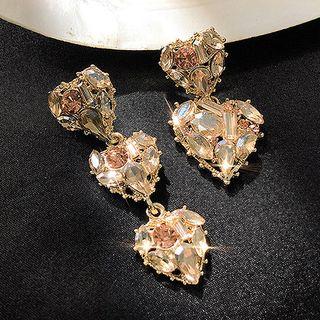 Rhinestone   Earring   Dangle   Figure   Heart   Size   One