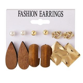Image of 6 Pair Set: Faux Pearl / Alloy / Wooden Earring (assorted designs) Set - As Shown In Figure - One Size
