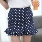 Polka Dot Ruffle Hem Mini Skirt 1596