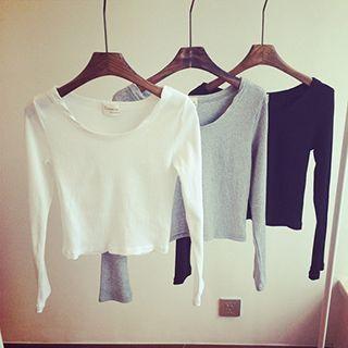 Ribbed Knit Cropped Long Sleeve T-Shirt 1051631599