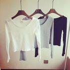 Ribbed Knit Cropped Long Sleeve T-Shirt 1596