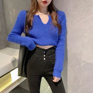 Plain Cropped Sweater / Skinny Jeans
