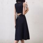 Sleeveless Open Back A-Line Dress 1596