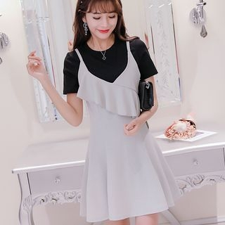 Set: Short-Sleeve T-Shirt + Frilled Strappy A-Line Dress 1060886080