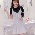 Set: Short-Sleeve T-Shirt + Frilled Strappy A-Line Dress 1596
