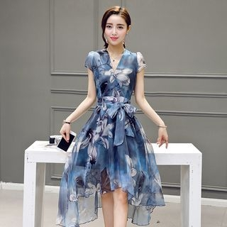 Cap-Sleeve Tie-Waist Floral Dress 1060777328