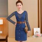 Set: Striped V-Neck Long-Sleeve T-Shirt + Denim Pinafore Dress 1596