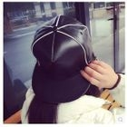 Panel Faux Leather Baseball Cap 1596