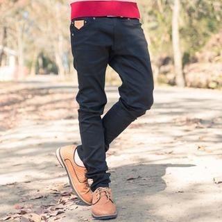 Faux Leather-Trim Slim-Cut Pants