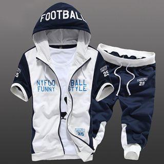 Set: Short-Sleeve Color-Block Lettering Hooded Jacket + Drawstring Contrast-Trim Cropped Pants 1046093196