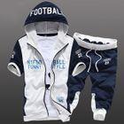 Set: Short-Sleeve Color-Block Lettering Hooded Jacket + Drawstring Contrast-Trim Cropped Pants 1596