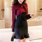 Long-Sleeve Ruffle-Hem Mini Dress 1596