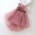 Kids Flower Applique Sleeveless Tulle Dress 1596