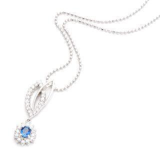 Image For 18K White Gold Pendant with Diamonds and Blue Sapphire
