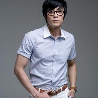 Buy Paris Story Short Tab-Sleeve Stripe Shirt 1022569114