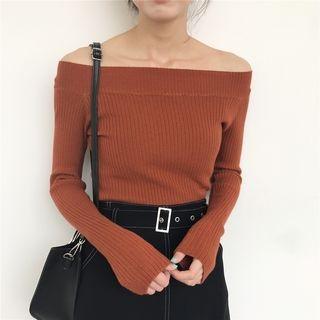Off-shoulder Ribbed Knit Top 1057302473